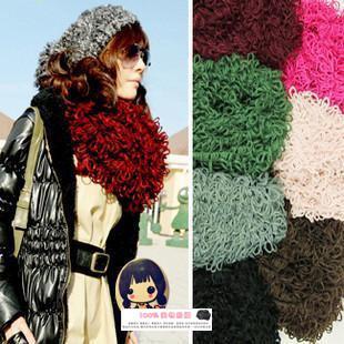毛线圈圈围巾超长手工编织围巾披肩围