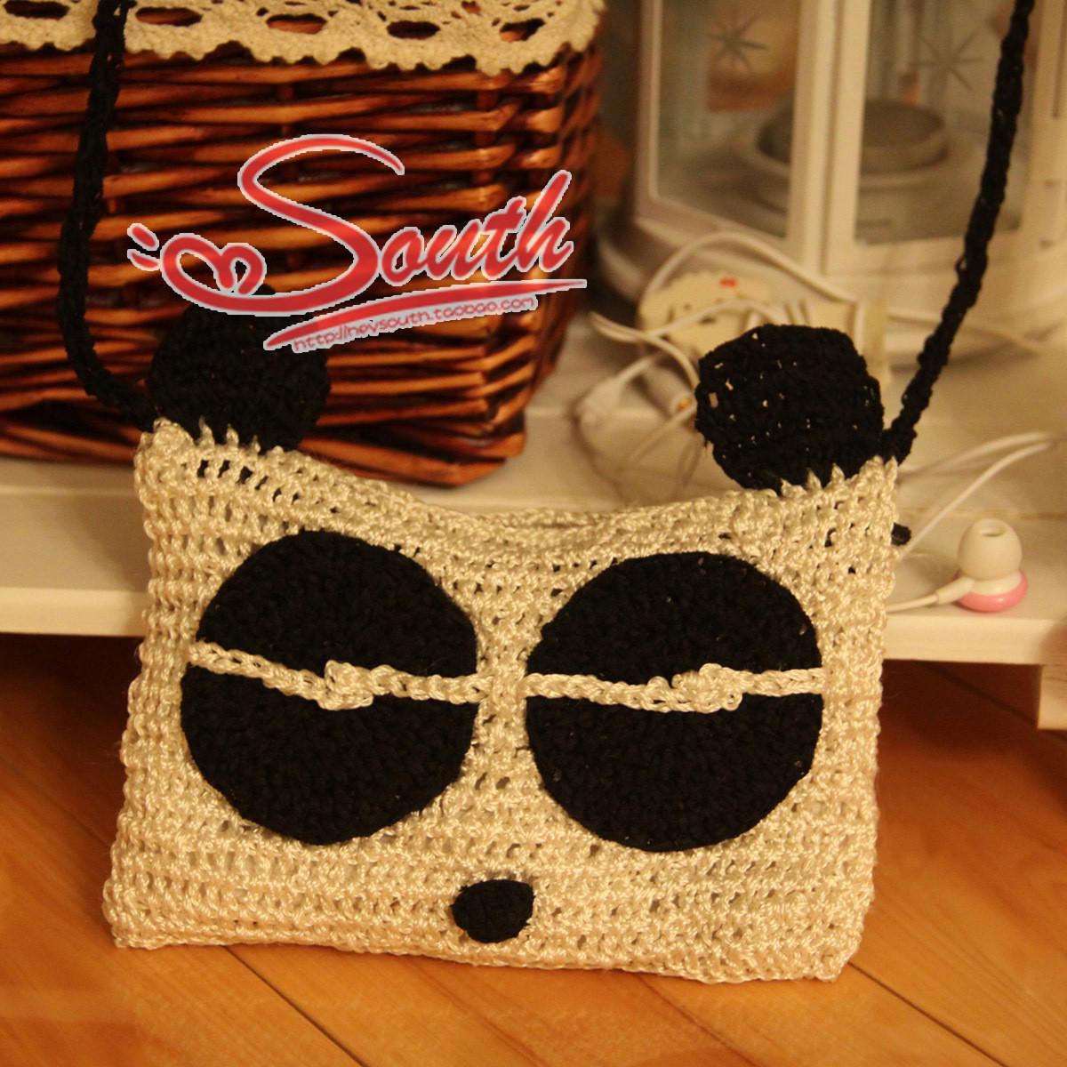[花心]超可爱的纯手工钩织 熊猫包 手机零钱包