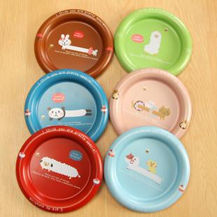 可爱卡通萌动物 马口铁杯垫/小巧圆形收纳盘