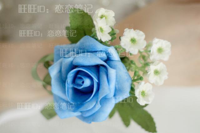 韩式手腕花新娘手腕花伴娘腕花白色米兰绿丝带蓝色玫瑰手腕花