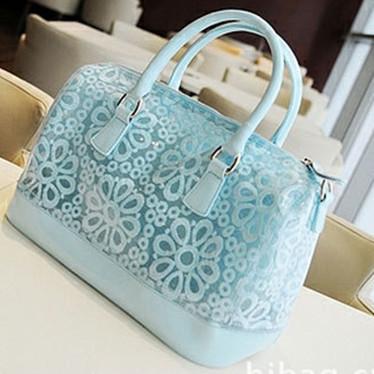透明淑女包果冻花朵手提包包可爱蕾丝配小清新真皮包