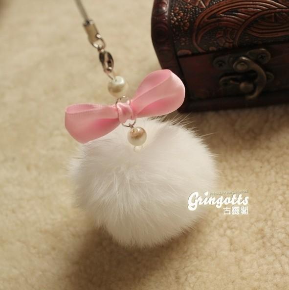 兔毛球手机链蝴蝶结小白兔可爱韩国挂饰挂绳毛绒饰品挂件
