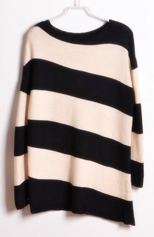 欧式不对称设计倾斜条纹中长款毛衣