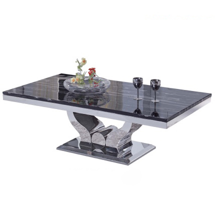 客厅金属不锈钢大理石茶几简约欧式创意茶几长方形功夫茶桌可定制