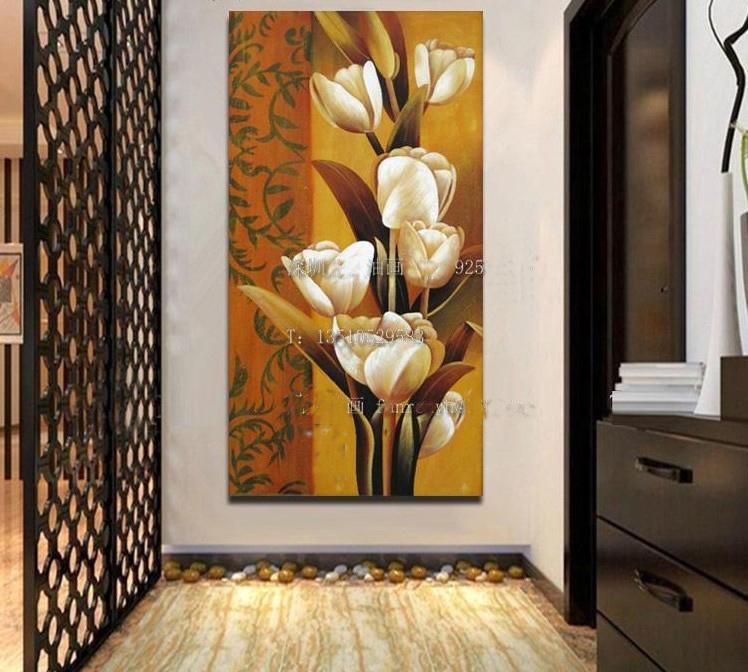 欧式油画装饰画手绘油画走廊玄关壁画苞蕾花朵图现代