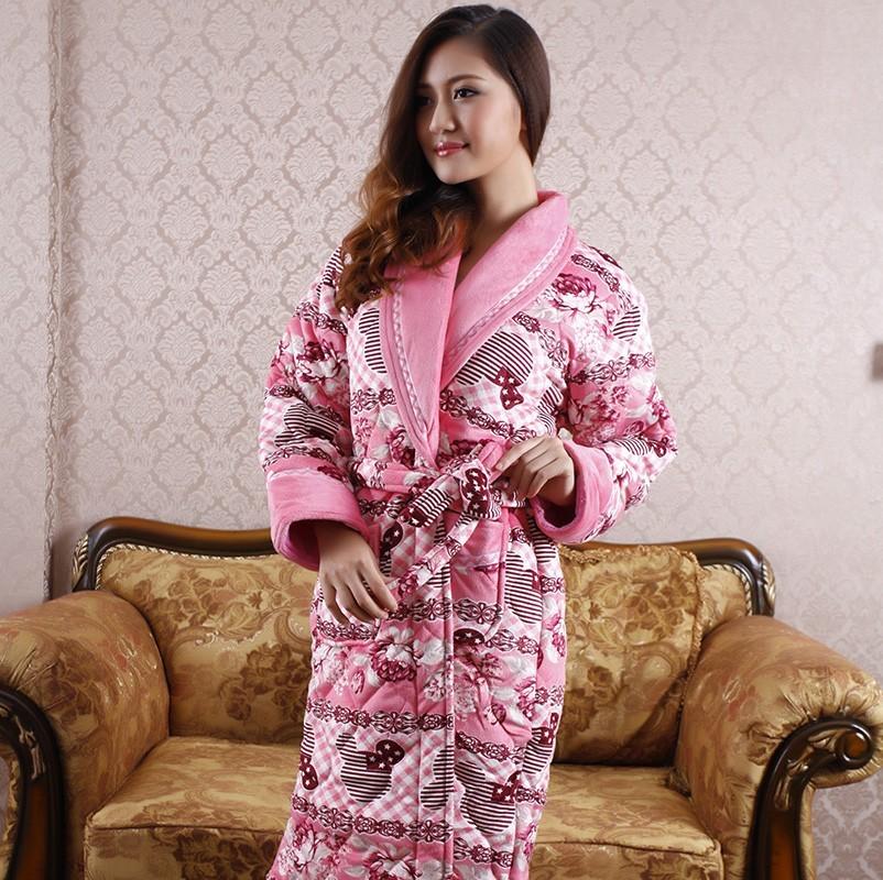 冬天加厚睡袍浴袍搭配图片