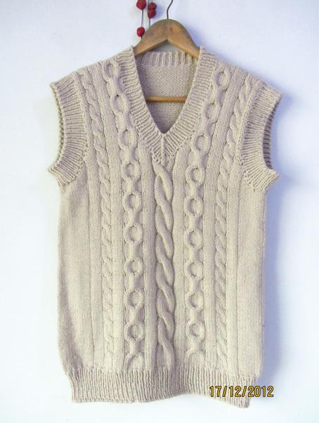需定做 纯手工编织100%三利纯羊毛 麻花毛衣马甲背心坎肩 男女款