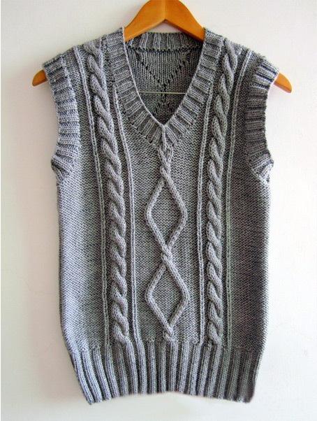 手工编织毛线马甲搭配图片