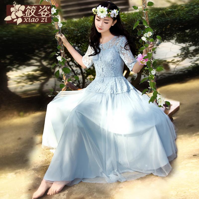预售筱姿秋千上的精灵2014春新款女公主蕾丝仙女蓬蓬长裙连衣裙[花心]