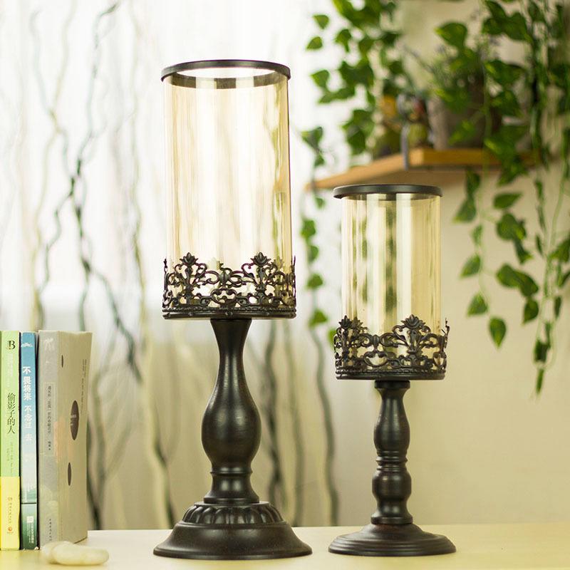 摩洛哥欧式烛台 欧式复古古典餐桌玻璃烛台装饰铁艺