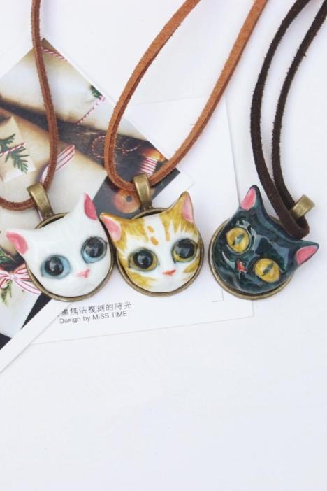 【萌猫三剑客手绘黑白猫咪项链】-无类目-配饰