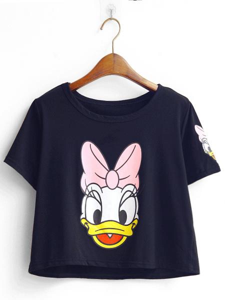 可爱米老鼠时尚字母短款t恤