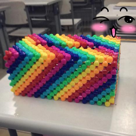diy彩虹纸巾盒,抽纸盒.串珠diy