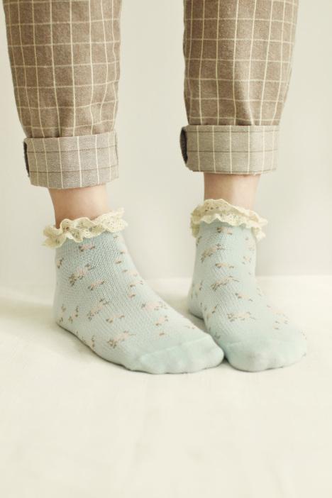 【【5双】碎花蕾丝花边短袜】-内衣-女士内衣/家居服