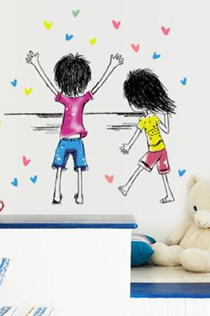 自由梦想儿童手绘画墙贴