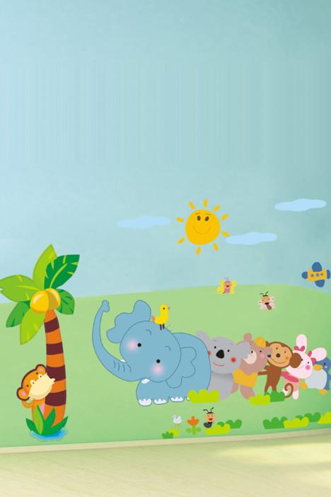卡通大象猴子墙贴画