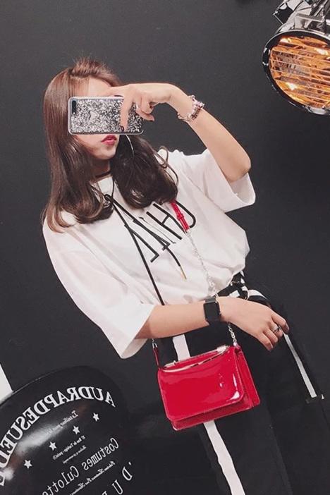 迪丽热巴同款果漆皮冻小方包2017斜挎包韩版手提包链条单肩包 -包包