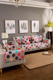 春夏新款斜纹纯棉绗缝沙发垫布艺坐垫防滑皮沙发垫支持定做$26.6-图片