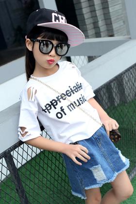 女童夏季破洞短袖套装2017夏装新款儿童韩版牛仔短裙两件套潮$59.5