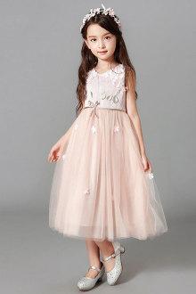 连衣裙柔美儿童公主裙韩版中长款网纱礼服裙蓬蓬裙$105-浅绿色植