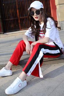 夏季套装韩版字母印花织带短袖T恤+开叉阔腿裤时尚两件套装女潮$79