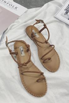 新款罗马风凉鞋女夏学生室外防滑一字扣沙滩鞋夹脚平底凉拖鞋子$95