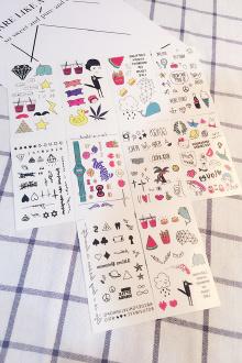 时尚 夏日可爱纹身贴 小清新彩色个性潮流纹身贴纸$7.9-aj13
