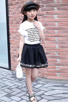 【童克】女童夏季套装2017新款T恤短裙12岁女孩两件套9潮$70-2年裙