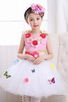 新款六一儿童公主裙演出服女童小学生蓬蓬裙现代舞蹈大合唱表演夏$