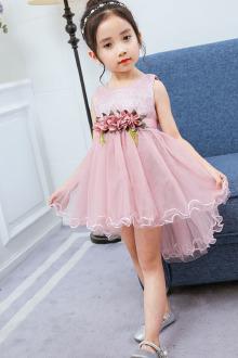 款韩版宝宝蓬蓬裙子夏装儿童公主裙$59.9-休闲手绘抽褶深紫色蓬蓬裙