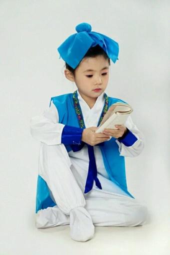 儿童诗朗诵古装演出服 汉服男