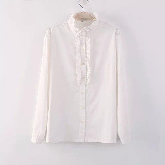 【韩版木耳花边长袖白衬衫】-衣服-服饰鞋包