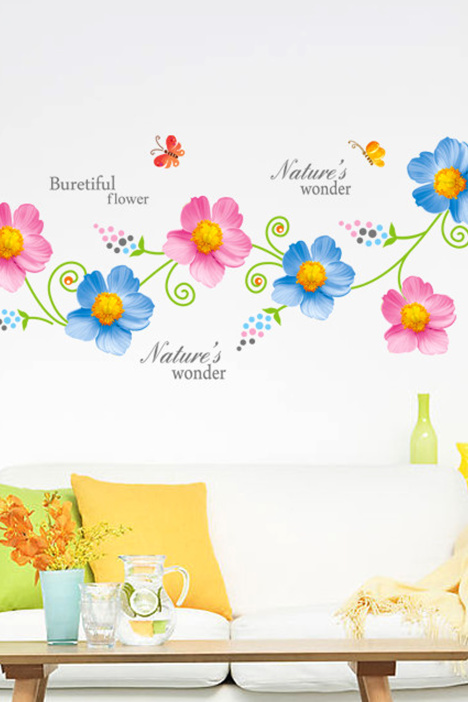 彩色花朵藤蔓墙贴画