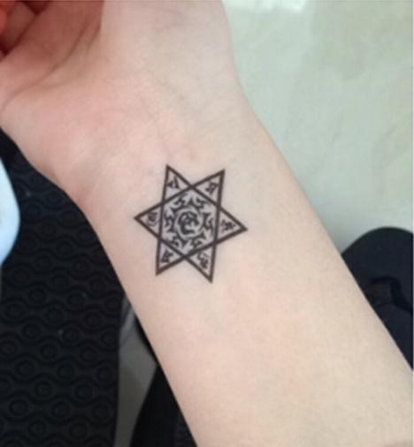原创梵文六芒星纹身贴 情侣英文字母男女 防水批发 六角星