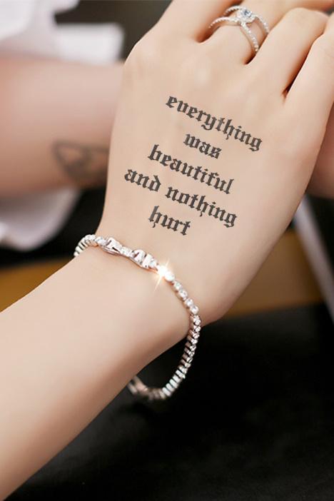 【高端】纹墨轩防水男女韩流浪漫情侣英文诗潮流纹身贴纸