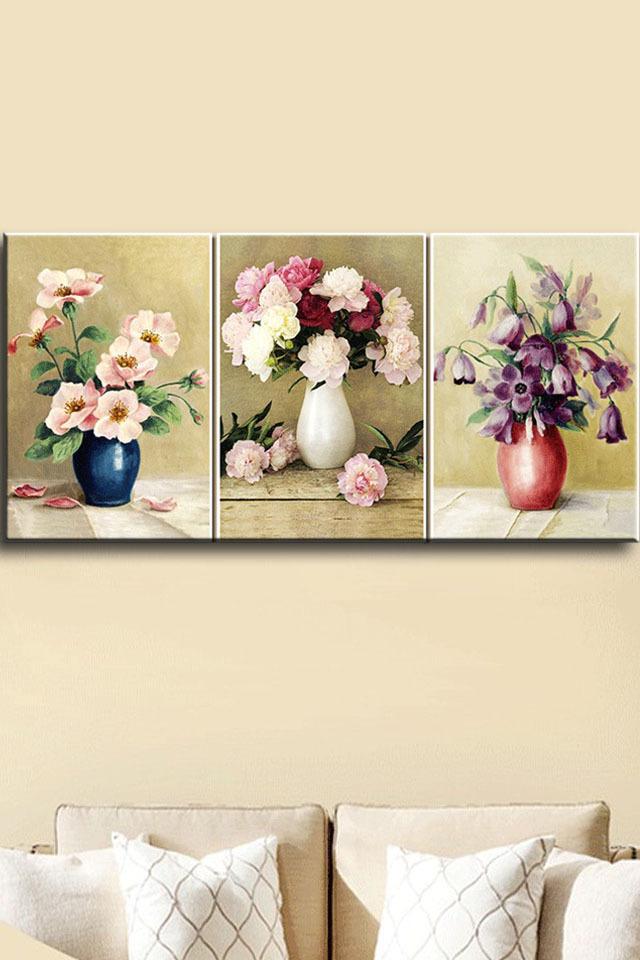 钻石画奢香花瓶三联画欧式花卉系列油画风格贴钻十字