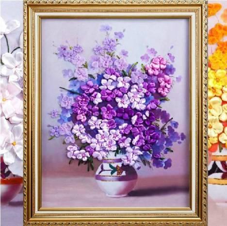 【丝绸绣3d丝带绣欧式餐厅紫色花韵花瓶3d印图立体绣