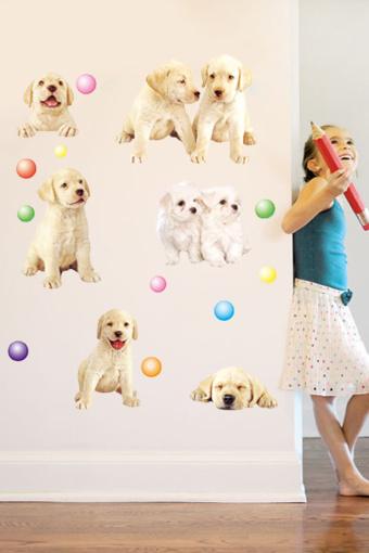 怡然之家 特价可爱卡通萌宠汪星人宠物店橱窗装饰墙纸