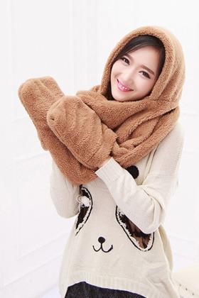 韩版新款可爱女生保暖围巾帽子手套三件套