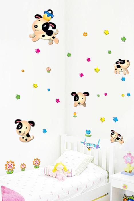 幼儿园装饰,可爱小狗,可爱卡通墙贴,可爱儿童贴纸,创意家居贴画