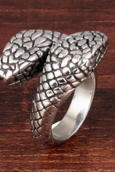 欧美双头蟒蛇钛钢男士戒指