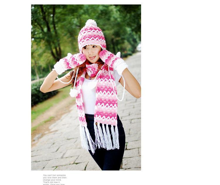 【手工编织毛线 帽子围巾手套三件套装】-配饰-配饰