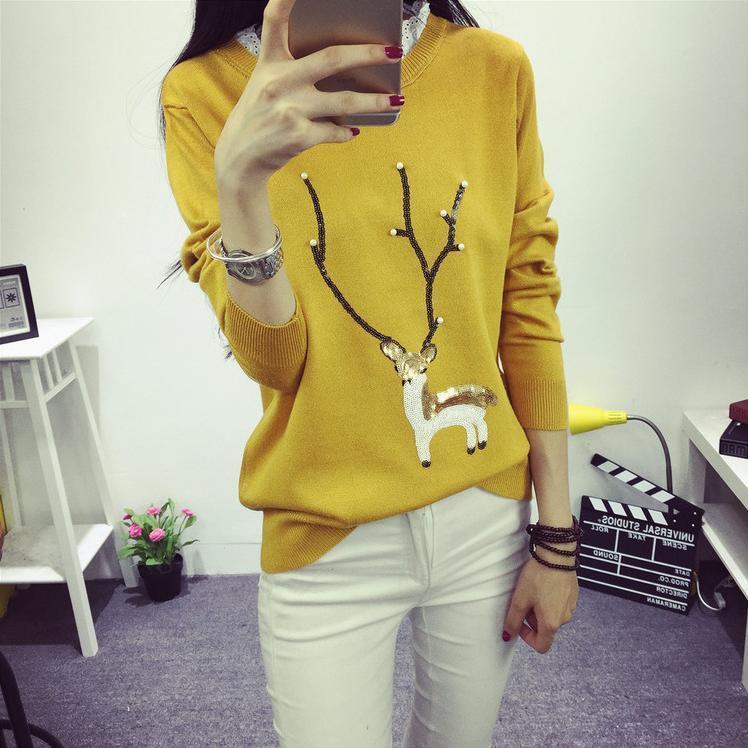 【韩版卡通小鹿图案花边领毛衣】-衣服-针织衫