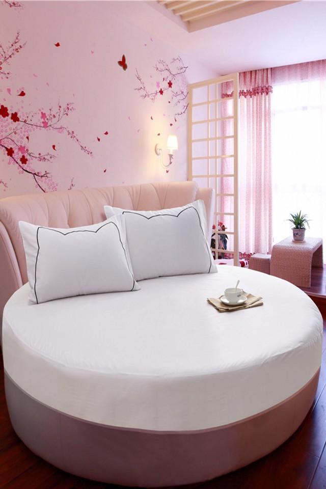 纯色全棉圆床床笠单件纯棉圆形床单床罩防滑保护床套席梦思床套