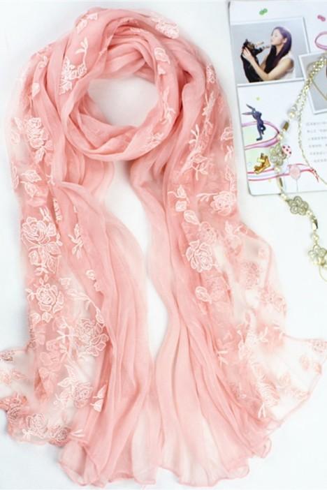 拼接玫瑰花丝巾围巾秋冬新款围巾披肩
