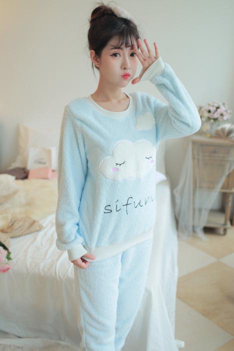【韩版冬季卡通可爱云朵女睡衣套装】-无类目-女士