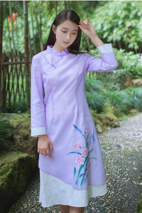 原创手绘民国风中国风改良旗袍连衣裙