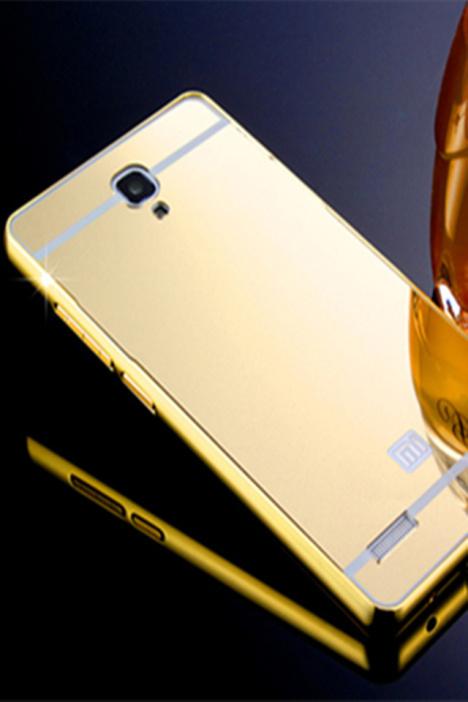 红米note手机壳小米外壳金属边框镜面保护套增强版5.5寸