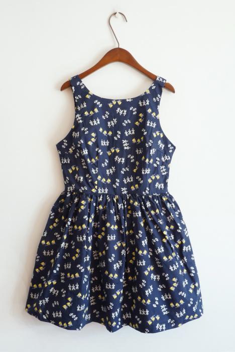 【欧美原单深蓝啤酒瓶花纹背心裙】-衣服-裙子