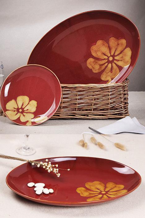 手绘陶瓷盘子寿司摆盘 特色餐厅餐具 大号 复古椭圆鱼盘